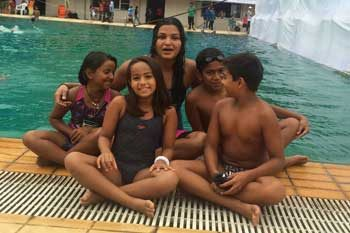 AT PUNE SUB-JUNIOR NATIONALS 2015 WITH RICHA MISHRA(INTERNATIONAL SWIIMER)
